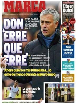 Portada Marca: Mourinho dispara al Real Madrid
