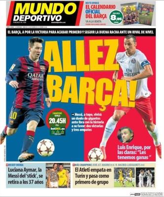 Portada Mundo Deportivo: Barça-PSG por la Champions League