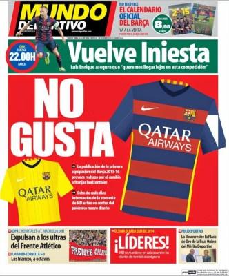 Portada Mundo Deportivo: la nueva equipación del Barça no gusta