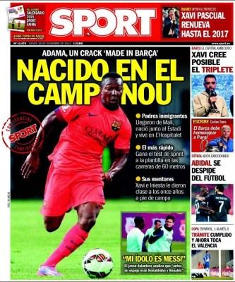 Portada Sport: Adama, nacido en el Camp Nou