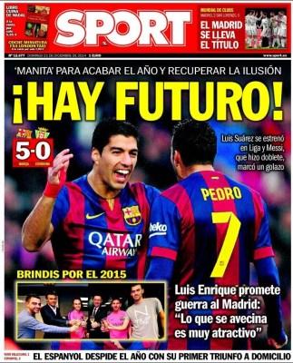 Portada Sport: El Barça endosa una manita al Córdoba