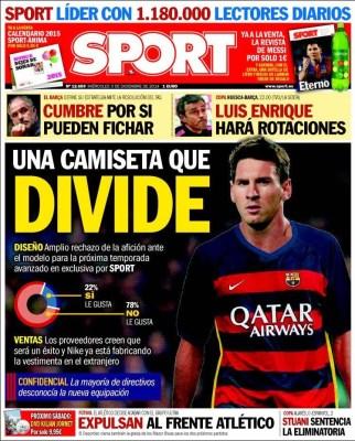 Portada Sport: la nueva equipación del Barça no gusta