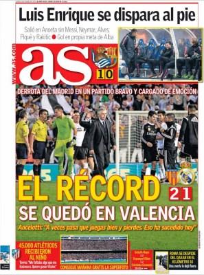 Portada AS: el récord se quedó en Valencia