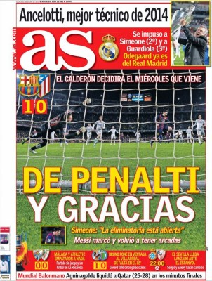 Portada AS: De penalti y gracias copa rey barcelona atletico