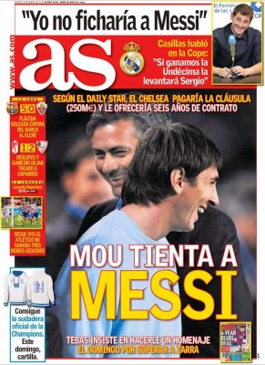 Portada AS: Mou tienta a Messi chelsea 250 millones