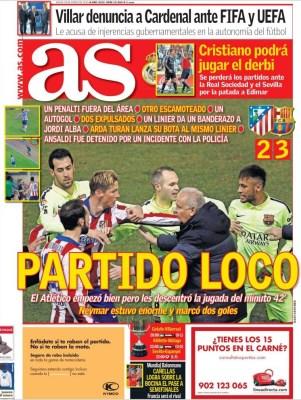 Portada AS: partido loco, el Barça a semifinales zapatazo arda turan