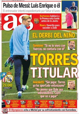 Portada As: el Niño Torres debuta ante el Real Madrid en Copa del Rey