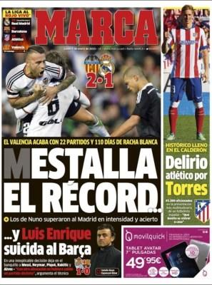 Portada Marca: Mestalla el récord
