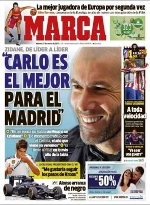 Portada Marca: Zidane dice que Ancelotti es el mejor