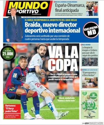 Portada Mundo Deportivo: Va la copa del rey barça atletico
