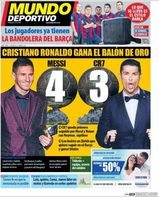 Portada Mundo Deportivo: Cristiano Ronaldo Balón de Oro 2014
