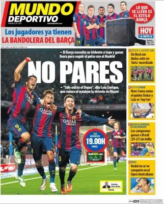 Portada Mundo Deportivo: No Pares Barça
