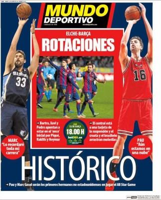 Portada Mundo Deportivo: Histórico Pau y Marc Gasol All Star