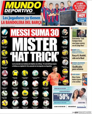 Portada Mundo Deportivo: Messi 30 hat-tricks