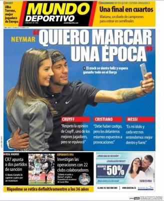 Portada Mundo Deportivo: Neymar quiere marcar época