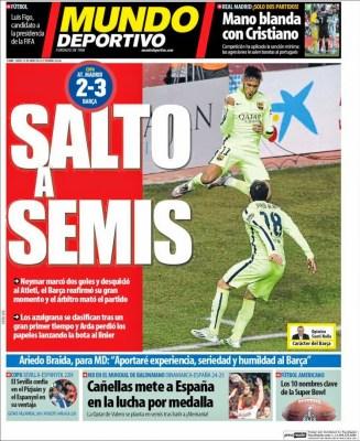 Portada Mundo Deportivo: el Barça clasifica a semis de Copa del rey