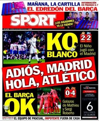 Portada Sport: Adiós Madrid, Hola Atlético