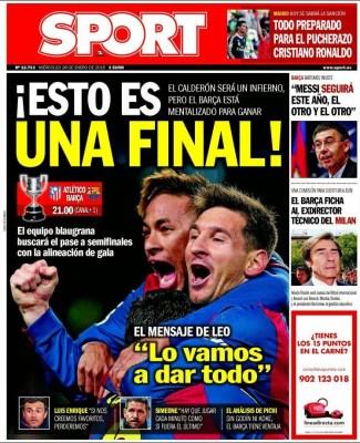 Portada Sport: Esto es una final atletico barcelona copa rey