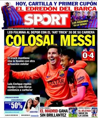 Portada Sport: Messi colosal hat trick depor