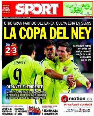 Portada Sport: la Copa de Ney