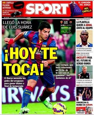 Portada Sport: Hoy te toca Suárez