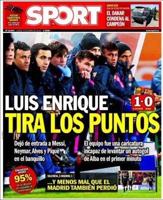 Portada Sport: Luis Enrique tira los puntos