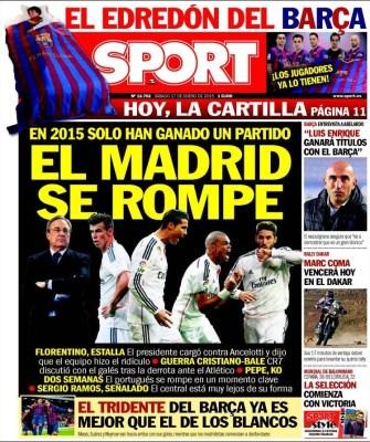 Portada Sport: el Madrid se rompe