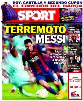 Portada Sport: terremoto Messi