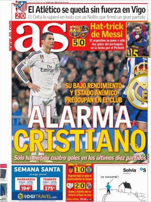 Portada AS: Alarma por Cristiano Ronaldo