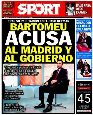 Portada Sport: Bartomeu acusa al gobierno
