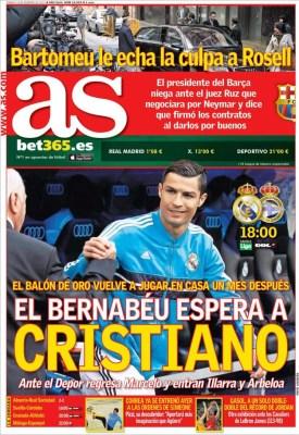 Portada AS: El Bernabéu espera a Cristiano