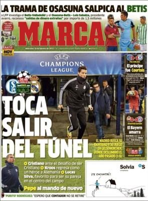 Portada Marca: toca salir del túnel schalke real madrid