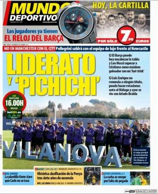 Portada Mundo Deportivo: Liderato y pichichi