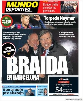 Portada Mundo Deportivo: Braida en Barcelona