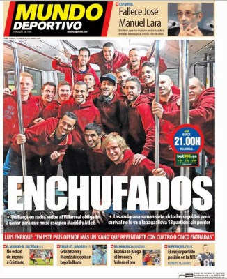 Portada Mundo Deportivo: Enchufados barça villarreal