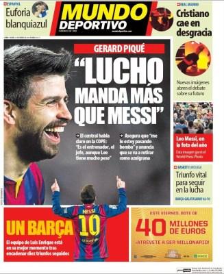Portada Mundo Deportivo: Lucho manda más que Messi
