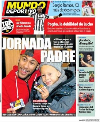 Portada Mundo Deportivo: Jornada padre neymar