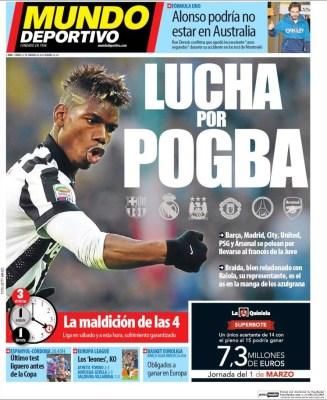 Portada Mundo Deportivo: Lucha por Pogba