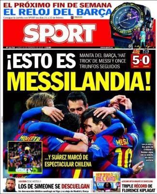 Portada Sport: Messilandia hat trick levante
