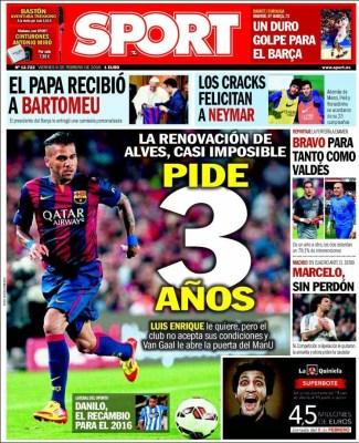 Portada Sport: Dani Alves pide 3 años renovacion