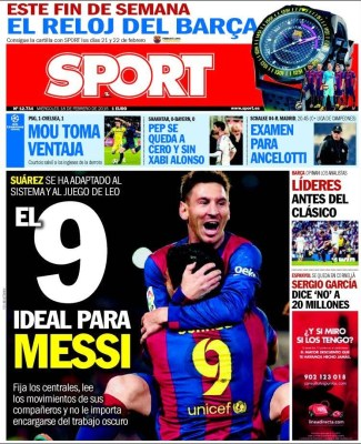 Portada Sport: el 9 ideal de Messi