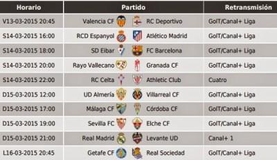 Partidos Jornada 27. Liga Española BBVA 2015