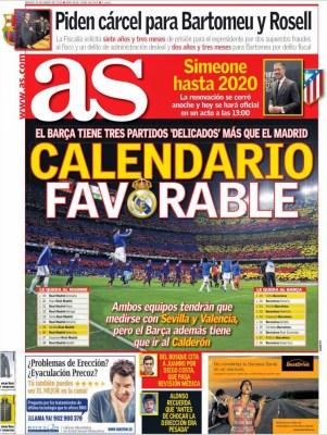 Portada AS: Calendario favorable