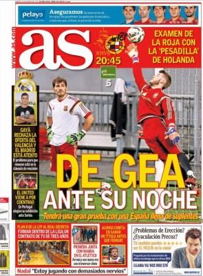 Portada AS: la hora de De Gea, hoy Holanda-España
