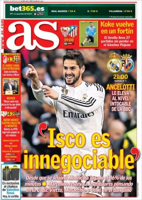 Portada AS: Isco es innegociable
