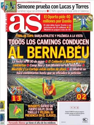 Portada AS: todos los caminos conducen al Bernabéu