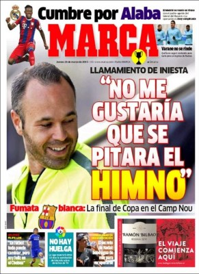 Portada Marca: Andrés Iniesta no quiere que piten himno