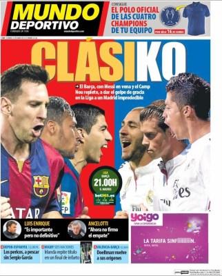 Portada Mundo Deportivo: Clasiko barcelona madrid camp nou