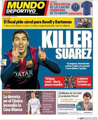 Portada Mundo Deportivo: Killer Suárez