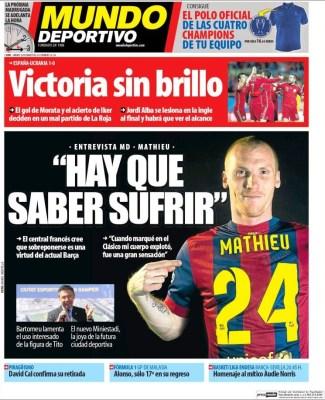 Portada Mundo Deportivo: Mathieu el clásico
